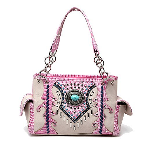 Western Handbag - Turquoise Round Stone Concho with Studded Bars - Concealed Carry Shoulder Bag