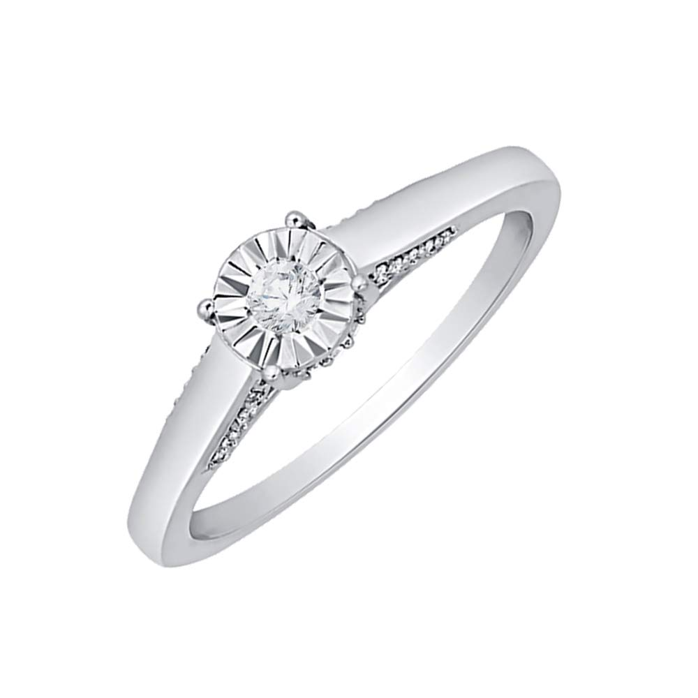Diamond Wedding Band in Sterling Silver Size-9.5 G-H,I2-I3 1//8 cttw,