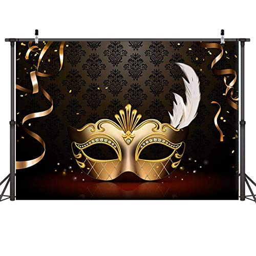 Dudaacvt Graduation Prom Photography Backdrop 7x5FT Masquerade Photography Backdrops Golden Mask Dark Retro Pattern Stage Photo Background 149 -