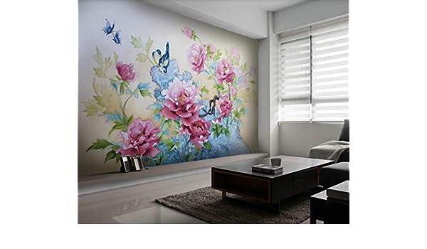 decorativos Murales peonía murando Fotomurales mariposa Decoración de Pared Pequeña ave Mural Papel Pintado ...