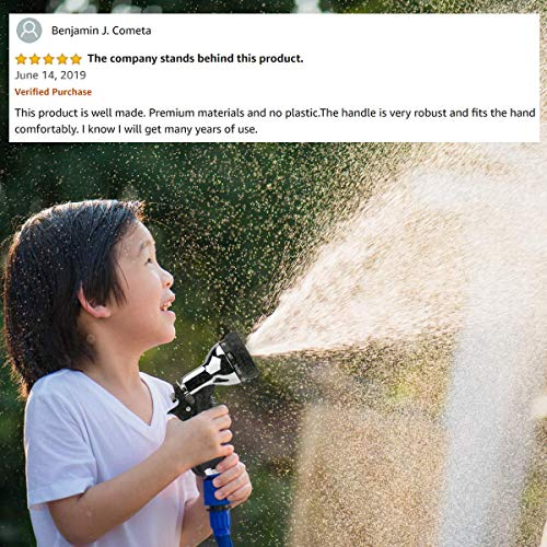 Premium Metal Hose Nozzle Garden Sprayer - Superior Lightweight Aluminum for Easy Extended Outdoor Use - Convenient 9 Way Spray Patterns for All Your Watering Needs (ALU)