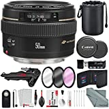 Canon EF 50mm f/1.4 USM Standard Lens for Canon SLR Cameras and Xpix Deluxe Accessory Bundle w/ Tabletop/Handgrip Tripod + Remote + Xpix Cleaning Kit + More