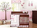 New Baby Girls Pink Butterflly 12pcs Crib Cot Bedding with wall hangings,quilt,window valance,diaper stakcer,sheet,dust ruffle