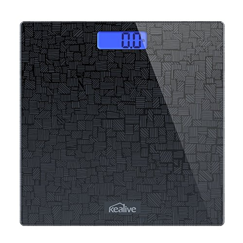 Kealive Bathroom Scale Body Weight Backlit Digital Large Platform Tempered glass with Step-On Technology Body Tape Measure for Home Office, Instant On Accurate Up To 400 Pounds/lb, Unit Conversion