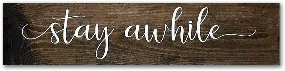 EricauBird Wood Sign Stay Awhile Wood Sign, Housewarming Gift, Entryway Wall Art, Farmhouse Sign, Rustic Above The Door Decor, Signs with Quotes, Long Horizontal,Decorative Home Wall Art,6x20