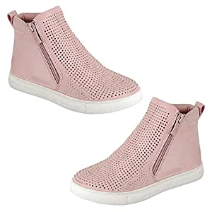 Best Mid Top Pink No Wedge Flat Heel Round Toe Vegan Leather Zippering Cute Trendy Little Flower Girl Sketcher Slip On Clearance Deal Bootie Shoe Sneaker Easter Basket Gift For Sale Kid (Size 10 Pink)
