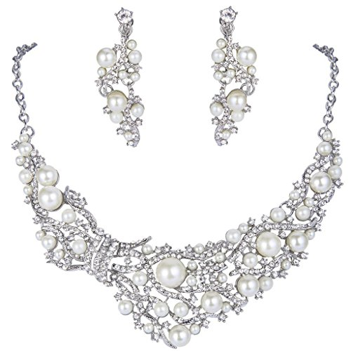 Tone Silver Clip Necklace - EVER FAITH Silver-Tone Crystal Cream Simulated Pearl Vine Clip-on Earrings Necklace Set Clear
