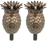 Maui Tiki Torch Set of 2, Landscape torch, Oil lamp, Tabletop Torch, Outdoor Lighting (Bronze Pineapple)