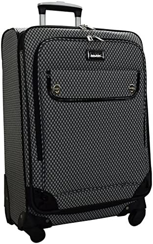 Nicole Miller Designer Luggage Collection – Expandable 24 Inch Softside Bag – Durable Mid-sized Lightweight Checked Suitcase with 4-Rolling Spinner Wheels 24in, Silver Black