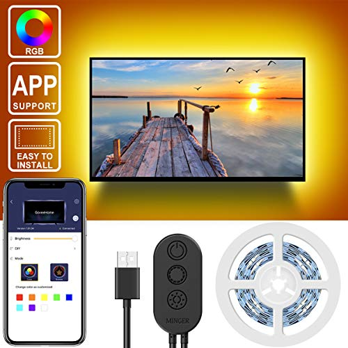 RGB TV Backlights, MINGER 6.56ft APP Control Neon TV Ambient Lighting, 5050 TV Lights Kit, Multi Color Accent LED Strips, USB Powered (40'-60')