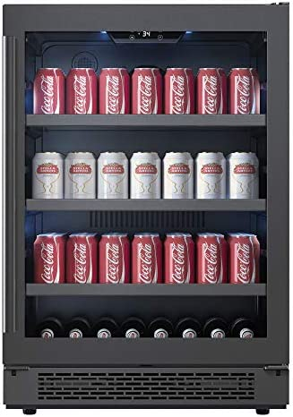 Avallon ABR241BLSS 24 Inch Wide 140 Can Capacity Beverage Center with LED Lighting and Double Pane Glass