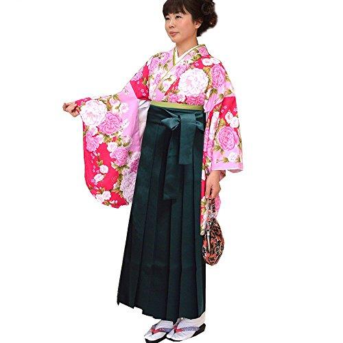 卒業式 袴セット 女性レディース二尺袖着物無地袴セット 4サイズ5色/