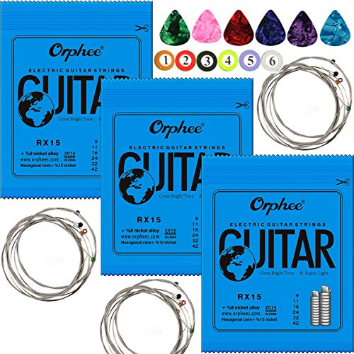 3 Sets Orphee RX15 Nickel Plated Steel Colorful Ball-End Electric Guitar Strings Super Light (009-042) ,With 6pcs Medium 0.71mm Celluloid Guitar Picks