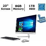 2017 Newest Lenovo IdeaCentre 510S All-in-One Desktop PC with Wireless Keyboard & Mouse, 23 Full HDTouchscreen, Intel Pentium 4405U, 8GB DDR4 RAM, 1TB Hard Drive, DVD+/-RW, Windows 10