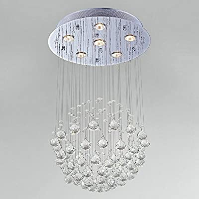 Lightess Modern Contemporary Large Luxury Crystal Ceiling Light Rain Drop Chandelier Lights Pendant Lamp With 6 Lights