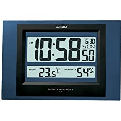 Casio Id-16s-2 Digital Auto Calendar Thermo Hygrometer Wall and Desk Clock with Indoor Temperature Blue Black Battery Included