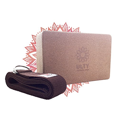 """Cork Yoga Block with 6' Strap, Set is for Fitness, the Gym and Pilates, Tested & Guaranteed to Improve Poses, Strength and Balance (9""""x6""""x4"""") by ULTY"""