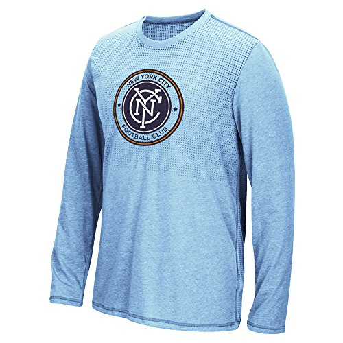 MLS New York City Football Club Men's Climacool Aeroknit Long Sleeve Tee, Heathered Light Blue, XX-Large