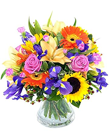 Clare Florist Fantastic Summer Memories Fresh Flower Bouquet - Beautiful Lilies, Roses and Sunflowers Hand