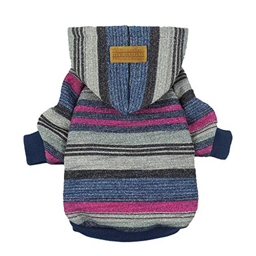 Fitwarm Striped Pet Clothes for Dog Sweatshirts Cat Pullover Hooded Jackets ()