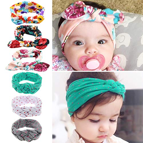 Baby Girl Headbands Newborn Infant Toddler Knotted Hairbands Bows 10 PCS Elastic Soft Floral Hair Band