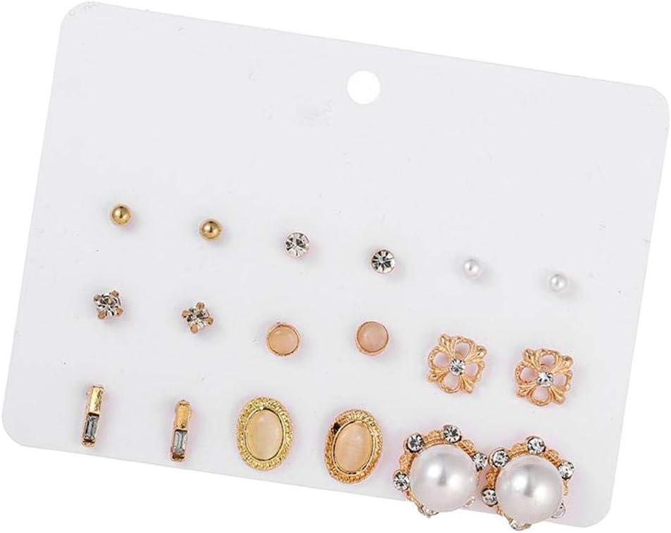 joyMerit 9 Pares Simples Pendientes De Diamantes De Imitación Pendientes De Perlas De