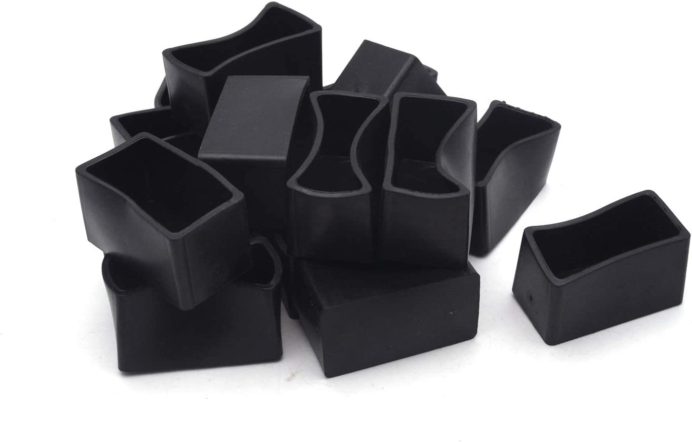 """Antrader 16Pcs Rectangle Shaped Furniture PVC Pads Table Chair Leg Foot End Caps Covers Protectors Black, 4/5"""" x 1-3/5"""""""