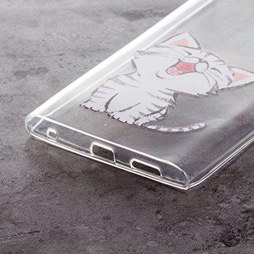 Funda Sony Xperia L1 Rojo Rosa Suave Transparente TPU Silicona Anti-rasguños Protector Trasero Carcasa Para Sony Xperia L1 / E6 con Un Protector de Cristal Templado Film Gato