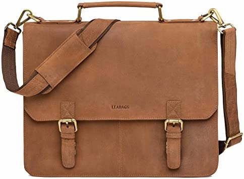 LEABAGS Gainsville genuine buffalo briefcase