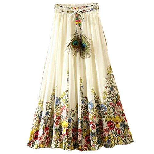 Kafeimali Women's Flowy Summer Casual Floral Bohemian Chiffon Long Maxi Skirt - Linen Skirt Print