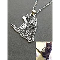 Custom Cat Silver Pet Photo Necklace Personalized Cats Pendant Engraved Jewelry Pet Loss Gift Pet Memorial for Birthday or Mothers' Day Christmas Birthday Mothers Mom Day Gifts