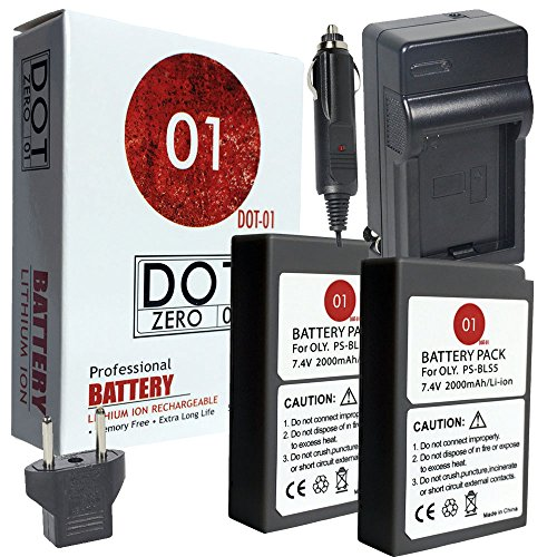 DOT-01 2X Brand Olympus Pen E-PL9 Batteries and Charger for Olympus Pen E-PL9 Mirrorless and Olympus E-PL9 Battery and Charger Bundle for Olympus BLS50 BLS-50 by DOT-01