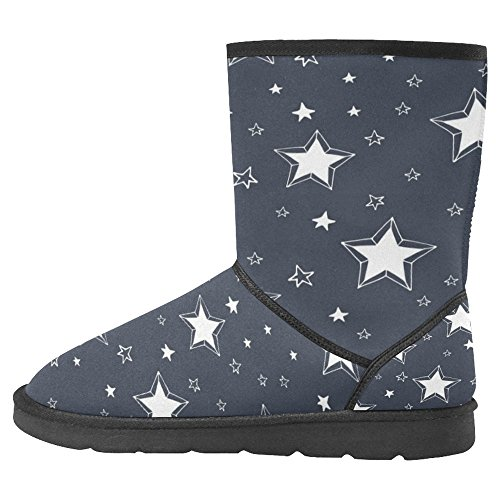 Multi Stars Unique InterestPrint Designed Womens 1 White A on Winter Boots Boots Comfort Snow Dark AwAOzqF