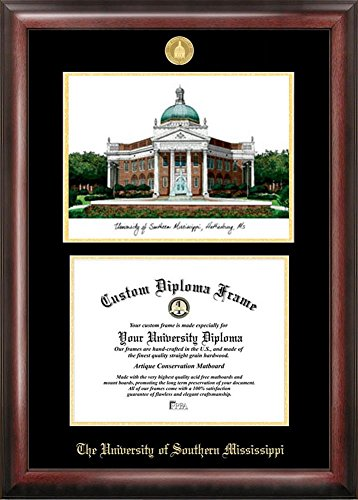 Southern Miss Golden Eagles Diploma Frame with Limited Edition Lithograph