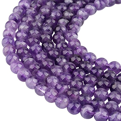 """SUNYIK Amethyst Round Loose Beads for Jewelry Making 8mm 15"""""""
