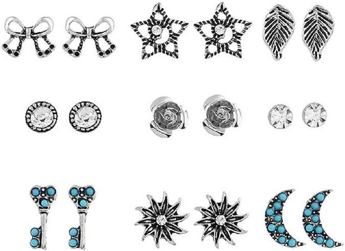 uhat® Pack 9 varios colores Rhinestone Punk estilo Stud Pendientes ...
