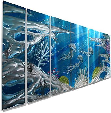 Jon Allen Metal Art Huge Underwater Wall Art Painting, Nautical, Beach Decor, Deep Blue Sea, 96 x 36