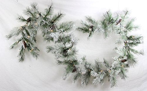 9 ft.Lighted Snow Pine Flocked Garland with Natural Looking Pinecones 85 tips
