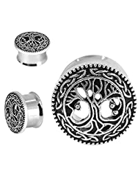 """D&M Jewelry PairTree of Life Stainless Steel Ear Plugs, Double Flare Tunnel Ear Guages 00g-3/4"""""""