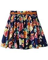 Am Clothes Womens Girl Lady Floral Summer Short Princess Skirt with Belt (BIG FLOWER-BLUE)