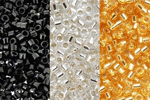 - Metallic Miyuki Delica Seed Bead Mix, Size 11/0, Silver Lined Crystal, Silver Lined Gold And Jet Black Opaque