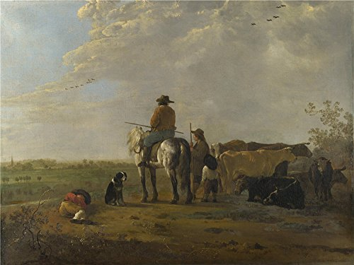 [Oil Painting 'Aelbert Cuyp - A Landscape With Horseman, Herders And Cattle,about 1655-60', 8 x 11 inch / 20 x 27 cm , on High Definition HD canvas prints, Basement, Garage And Study Room] (Costumes Halloween Yahoo)
