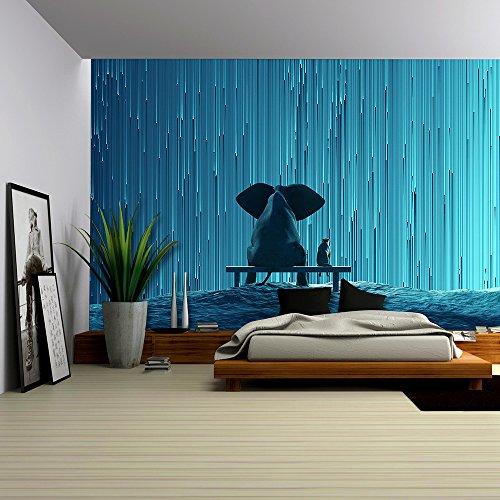 elephant and dog looking at star Rain