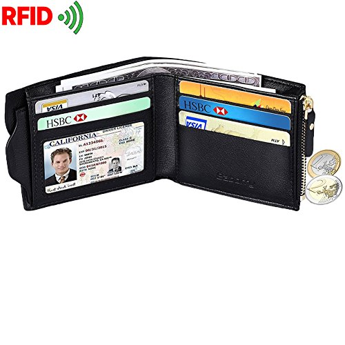 Zipped Coin Pocket (Men' s RFID Front Pocket Wallet Bifold Durable Secure Leather Wallet with Coin Pocket Black)