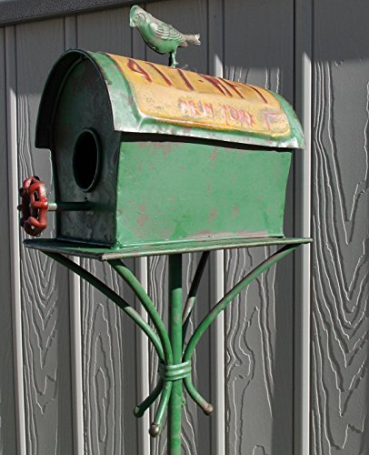 "Vintage Look Licence Plate Design 47"" Garden Stake Birdhouse"