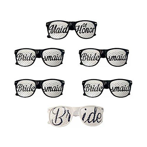 Crazy Night Bridal Bachelorette Party Favors - Wedding Kit - Bride & Bridesmaid Party Sunglasses - Set of 6 Pairs (black) -