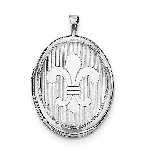(Sterling Silver Rhodium-Plated Fleur De Lis Design Oval Locket Pendant)