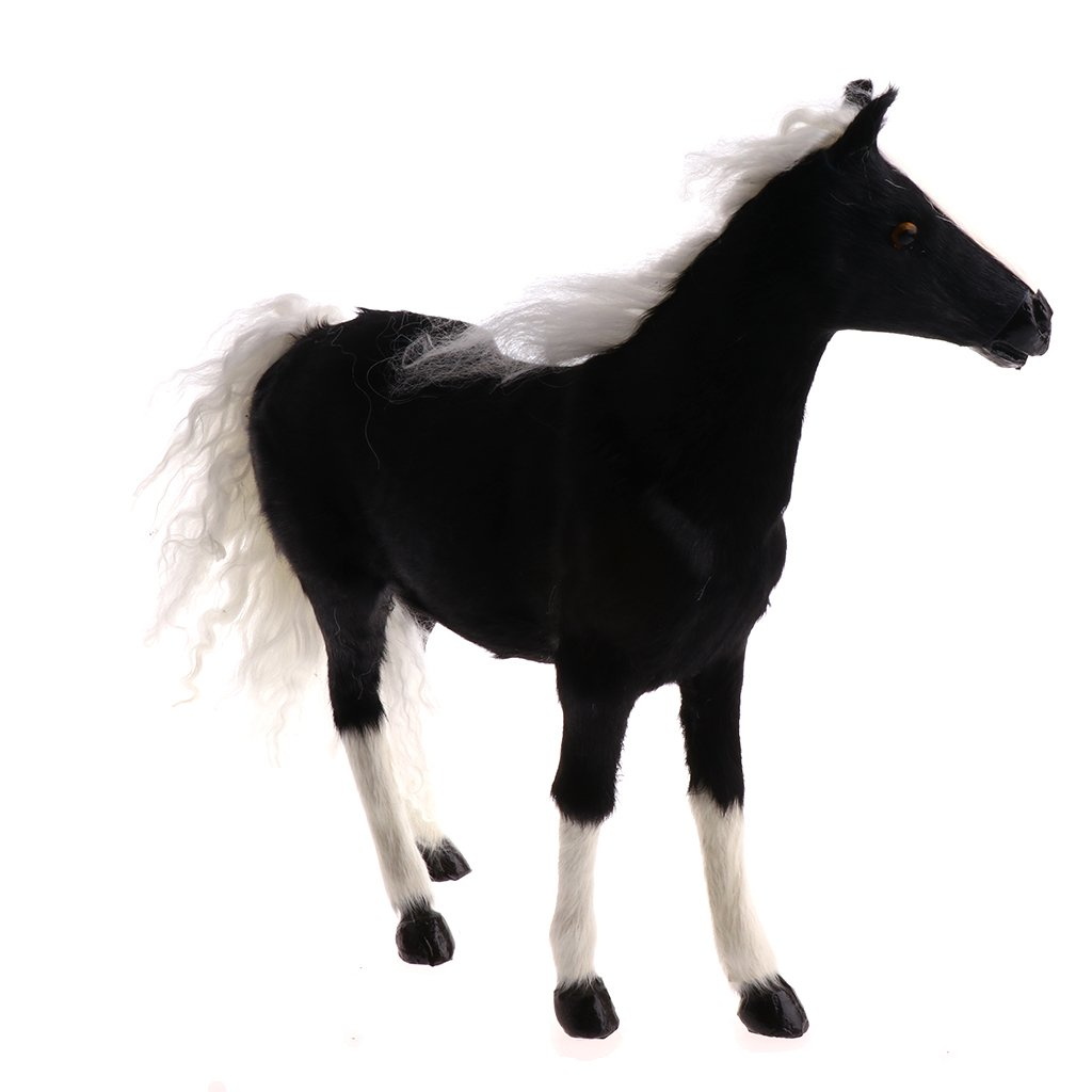 Homyl Simulation Plush Horse Home Ornament Xmas Decor Stuffed Animal Plush Figures Toy Kids Gift Black