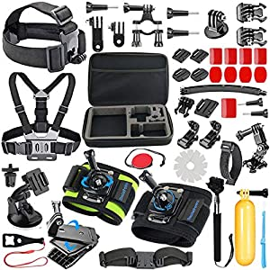 SmilePowo 51-in-1 Sport Camera Accessories Kit for GoPro Hero 7,6,5,4 Black,Hero 2018,Hero Session,Hero Fusion,SJCAM,Xiaomi,AKASO,DBPOWER Accessories for GoPro with Anti-Fog Inserts and Floating Grip