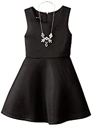 Amy Byer Big Girls Sleeveless Fit and Flare Mesh Dress, Black, 7